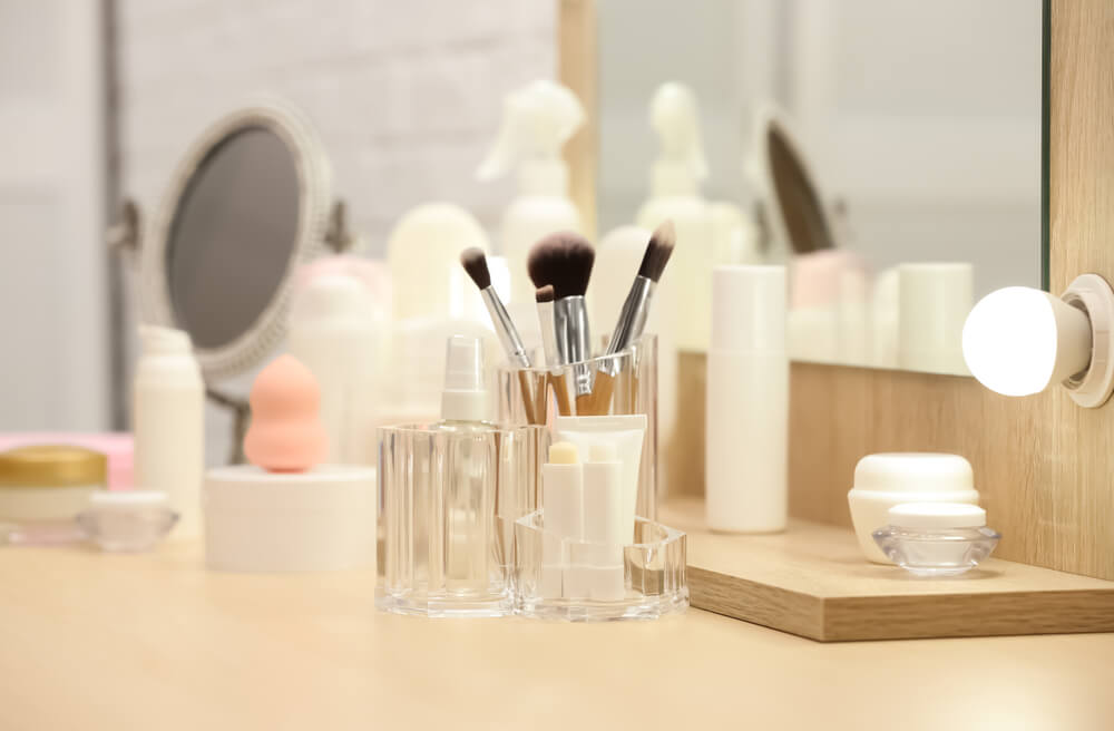 Skincare products on counter