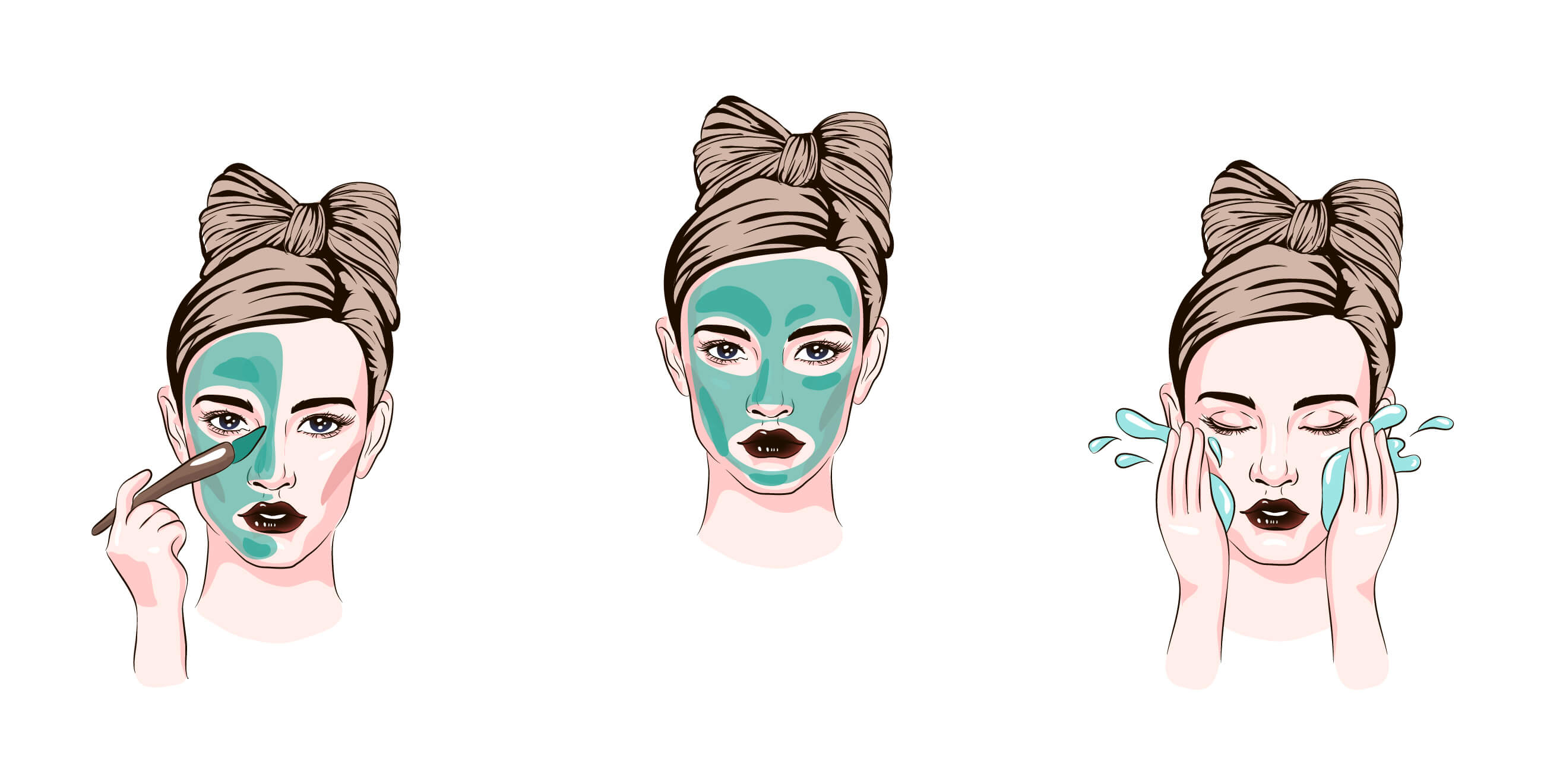 Illustration showing 3 steps to use facial mask - paint on, wait, rinse off