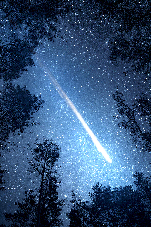 galaxy image with shooting star